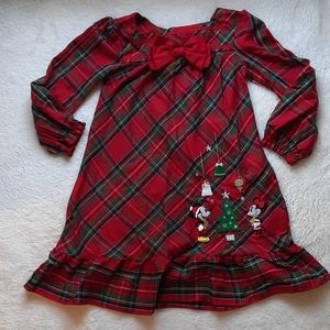 Disney 3 red plaid Christmas nightgown pajamas